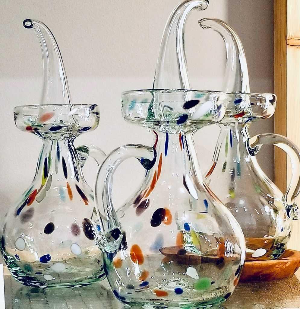 Glass olive oil bottles from Mallorca in Hijo de Egipmenio shop in Madrid