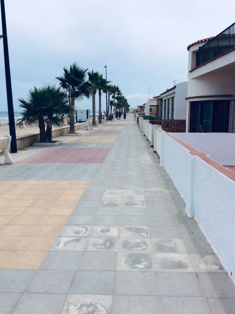 Along the beachfront in Miramar beach in Oliva, Spain