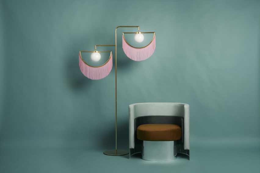 Wink floor lamps and Mambo armchair for Houtique designed by Masquespacio